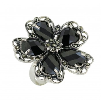 Marcasite Ring 5 Black Cubic Zirconia Chess Cut Flower Petals - 8