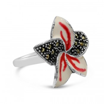 Marcasite Ring 23X23mm Red+White Opaque Epoxy Pave Marcasite Flower