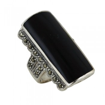 Marcasite Ring Onyx Rectangular With Marcasite both Side - 8
