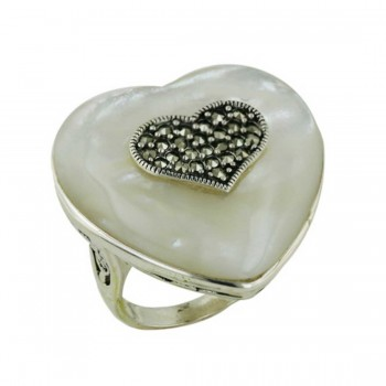 Marcasite Ring Mother of Pearl Heart+Marcasite Heart with Open Base