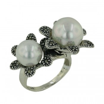 Marcasite Ring with 2 Shell Pearls with 2 Flowers