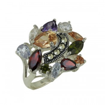 Marcasite Ring with Teardrop Multicolor Cubic Zirconia