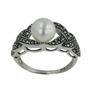 Marcasite Ring 8mm Shell Peral Center 3 Layers Braded Eac