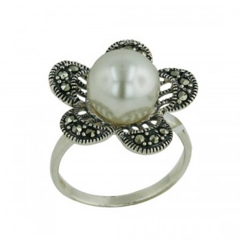 Marcasite Ring 10mm Shall Peral 5 Marcasite Pave Petal