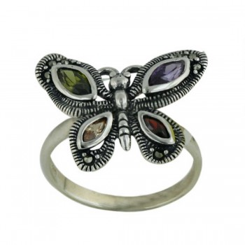 Marcasite Ring A, Olivine, Garnet, Champagne Marquis Cubic Zirconia Butterfly 3mm Ban