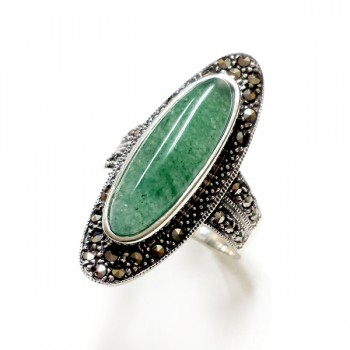 Marcasite Ring 8X21.5mm Cabochon Green Aventurine Oval