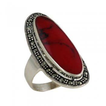 Marcasite Ring 11X28mm Oval Red Cornelian Center Marcas