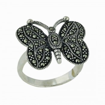 Marcasite Ring Marcasite Paved Round Wing Butterfly