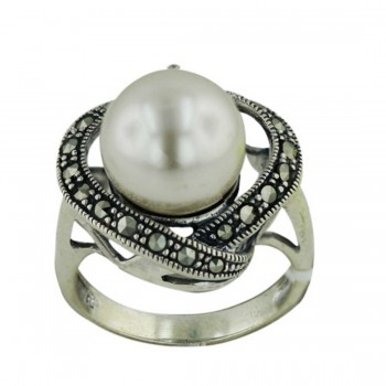 Marcasite Ring Marcasite Forms Heart Around 12mm Pearl C