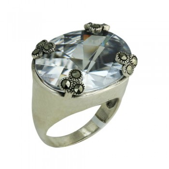 Marcasite Ring 18X22mm Oval Clear Cubic Zirconia Marcasite Clover on