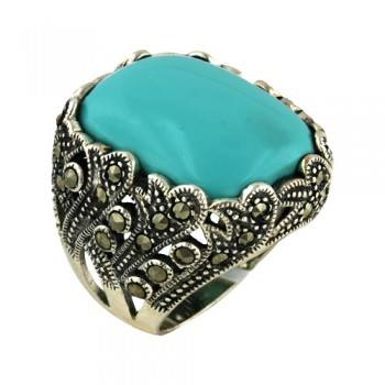 Marcasite Ring 18X22mm Rectangular Dome Turquoise Marcasi