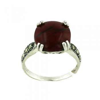 Marcasite Ring 13.5mm Round Red Dyed Howlite on Crown Mar