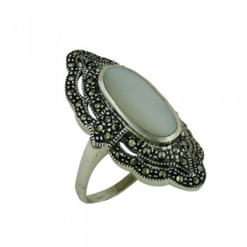 Marcasite Ring 8X16mm Mother of Pearl Oval Center Marcasite Lace Surr