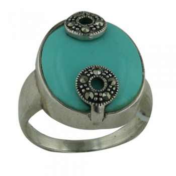 Marcasite Ring 16X17mm Oval Turquoise Center Clasp by Sm