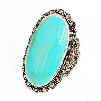 Marcasite Ring 16X30mm Turquoise Oval Center Marcasite Fo