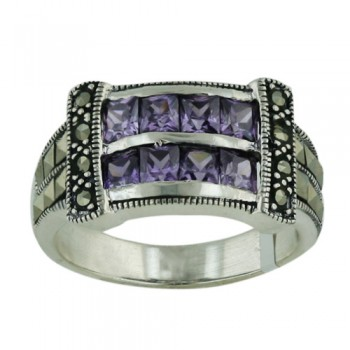 Marcasite Ring Amethyst Square Cubic Zirconia and Square Marcasite