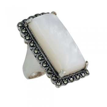 Marcasite Ring 14X27mm Mother of Pearl Square Dome Marcasite Around