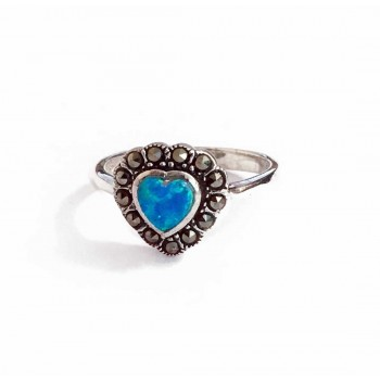 Marcasite Ring Sterling Silver Heart Synthetic Blue