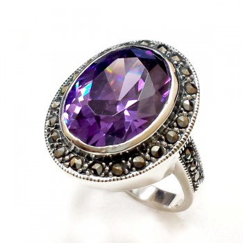 Marcasite Ring Oval Wrap Amethyst Cubic Zirconia 12X16 mm