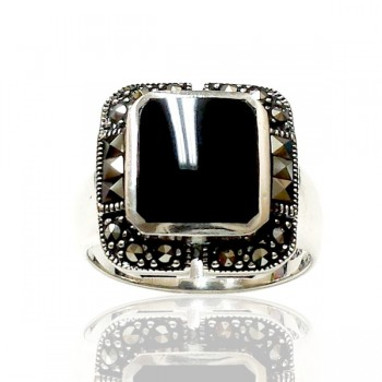 Marcasite Ring Octagon Black Onyx Square Square Marcasite Sides