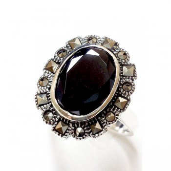 Marcasite Ring Oval Black Cubic Zirconia Square Cut Round Cut Marcasite Around