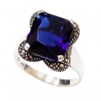 MS Ring 10X12Mm Rect. Sapphire Glass W/ Ms Lines