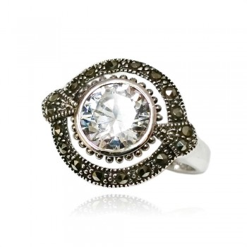 Marcasite Ring Round Clear Cubic Zirconia with Oval Shaped Around Marcasite