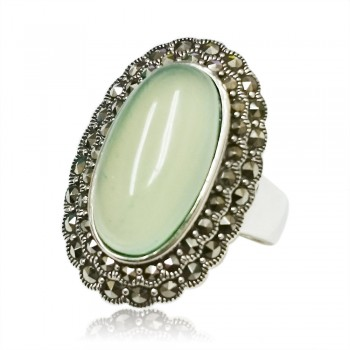 Marcasite Ring 26X17mm Oval Green Chalcedony with Marcasite Around