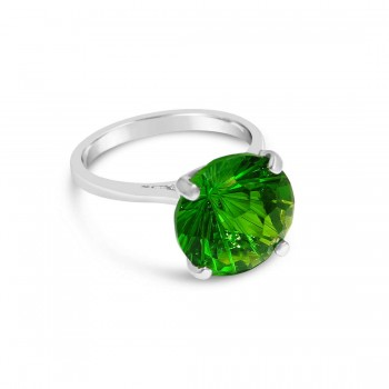 Sterling Silver Ring 12mm Peridot Glass Flower Cut Solitaire