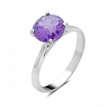 Sterling Silver Ring 8mm Flower Cut Amethyst Cubic Zirconia Solitaire