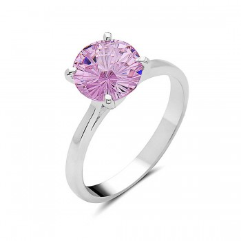 Sterling Silver Ring 8mm Flower Cut Pink Cubic Zirconia Solitaire