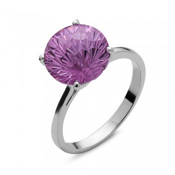 Sterling Silver Ring 10mm Amethyst Cubic Zirconia Flower Cut Solitaire