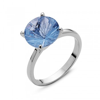 Sterling Silver Ring 10mm Aqua Marine Glass Flower Cut Solitaire