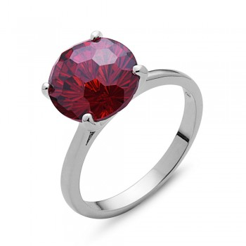 Sterling Silver Ring 10mm Garnet Cubic Zirconia Flower Cut Solitaire