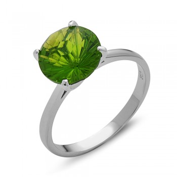Sterling Silver Ring 10mm Peridot Glass Flower Cut Solitaire