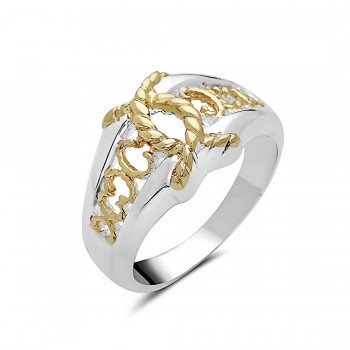 Sterling Silver Ring Two Tone Rope Double C--E-Coat