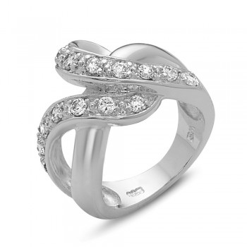 Sterling Silver Ring Wavy Clear Cubic Zirconia -E-Coated - 5