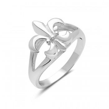 Sterling Silver Ring Plain Fleur De Lis***E-Coated