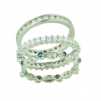 Sterling Silver Ring 3 Pcs Sets Stack Sapphire Glass+Marquis Ba