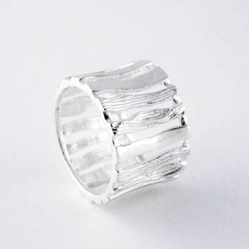 Sterling Silver RING PLAIN+LINE TEXTURE PICKET FENCE WIDE BAND*