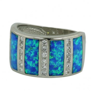 Sterling Silver Ring Blue Opal 5 Bar with Clear Cubic Zirconia Between - 9