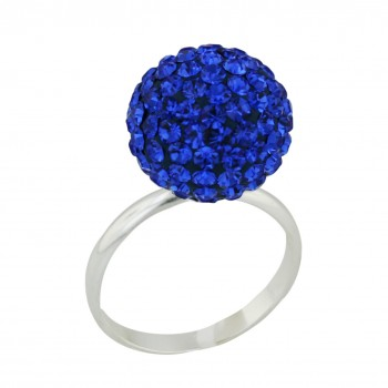 Sterling Silver Ring 14mm Sapphire Crystal Fireball