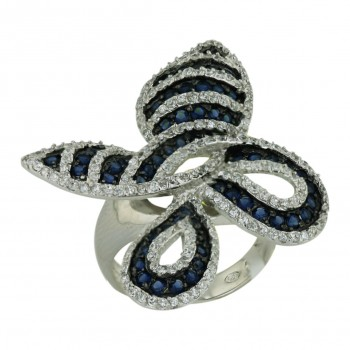 Sterling Silver Ring Sapphire (Black Plating) +Clear Cubic Zirconia Butterfly