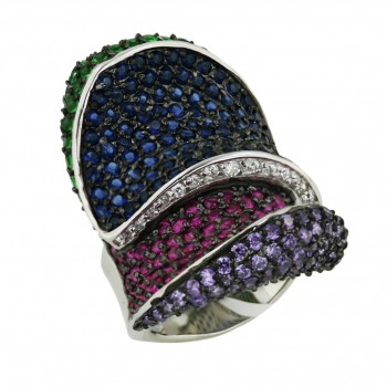 Sterling Silver Ring Oppositive Pave Ame,Ruby,Emerald,Sapphire (Black Pla