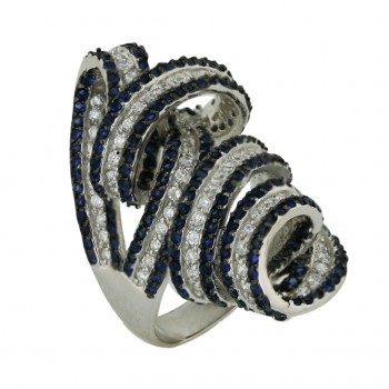Sterling Silver Ring Sapphire (Black Plating) +Clear Cubic Zirconia Spiral