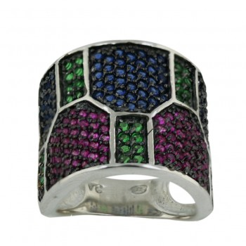 Sterling Silver Ring Ruby,Sapphire,Emerald (Black Plating) Pieces