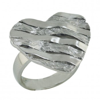 Sterling Silver Ring Rough Texture Wavy Lines Heart--Rhodium Plating/Nickle Free-- - 8