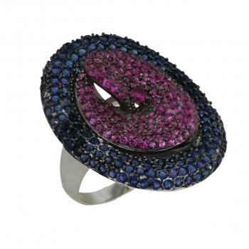 Sterling Silver Ring L=33mm Ruby+Sapphire (Black Plating) Twisted
