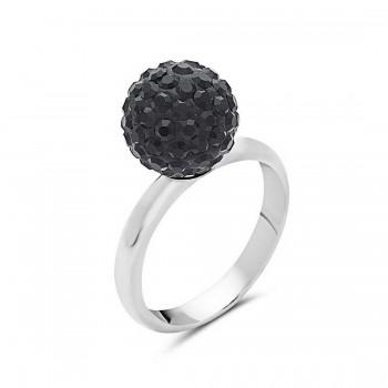 Sterling Silver Ring 10mm Black Crystal Fireball--Rhodium Plating Plate