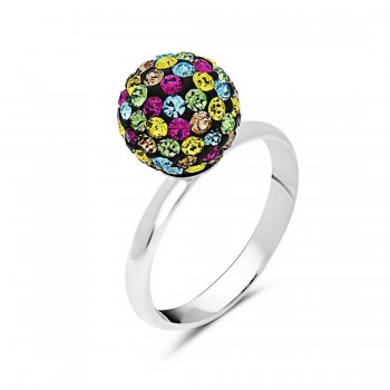 Sterling Silver Ring 10mm Multicolor Crystal Fireball--Rhodium Plating Plate